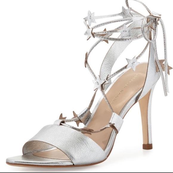 41fe5a5ea3ffd Loeffler Randall Silver Star Sandals Heels Strappy